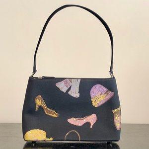 Black canvas bag with shoe, hat, glove decor